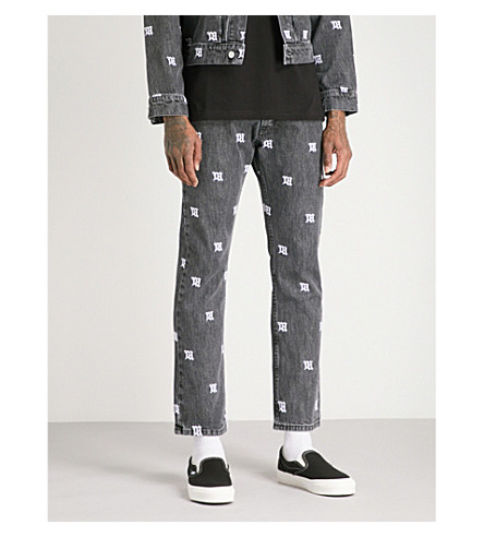 MISBHV Monogram regular-fit straight jeans (Black