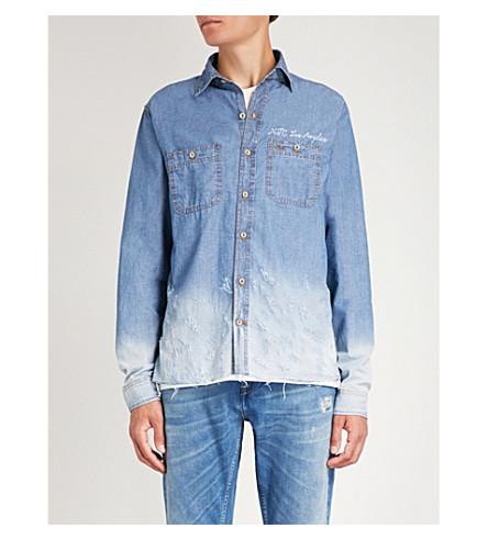 HOLLYWOOD TRADING COMPANY Distressed slim-fit denim shirt (Blue