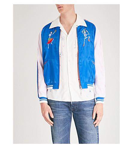 好莱坞贸易公司当天的死绣可逆缎面轰炸机夹克 (蓝 + 白
