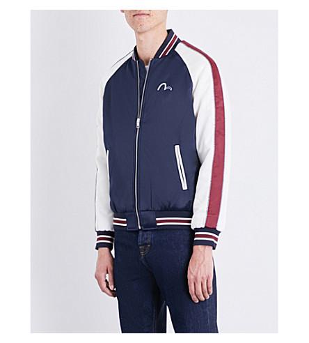 EVISU Embroidered-appliqué satin bomber jacket (Navy