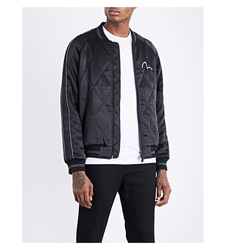 EVISU Fish-embroidered satin bomber jacket (Black