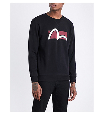 EVISU Logo-print cotton-jersey sweatshirt (Black