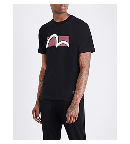 EVISU Logo-print cotton-jersey T-shirt (Black