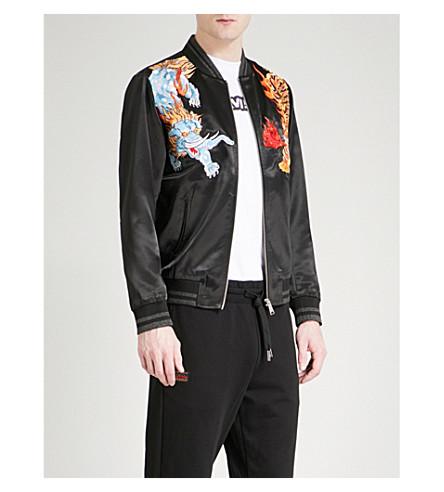 EVISU Tiger satin bomber jacket (Black