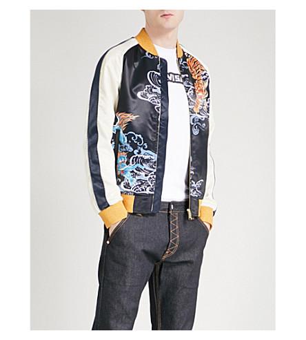 EVISU Tiger satin bomber jacket (Navy+ecru