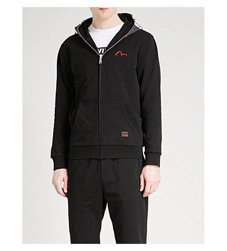 EVISU Daruma cotton-jersey hoody (Black