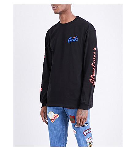 GCDS Brand-print cotton-jersey top (Black