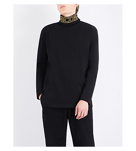GCDS Turtleneck logo-embroidered cotton-jersey top (Black