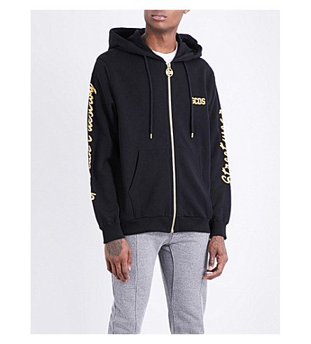 GCDS Metallic brand-embroidered cotton-jersey hoody (Black