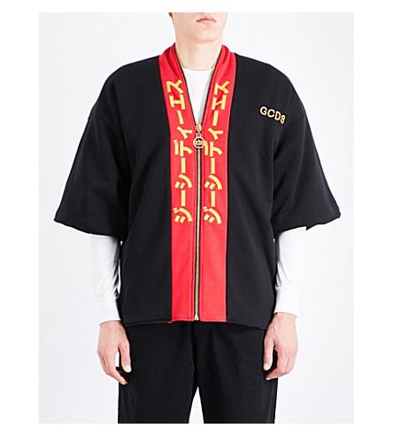 GCDS Kimono zip-up cotton-jersey sweatshirt (Black