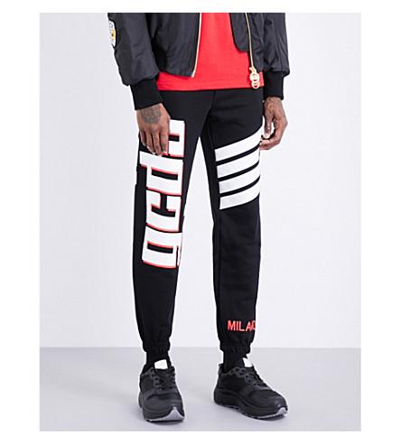 GCDS Striped cotton-jersey jogging bottoms (Black