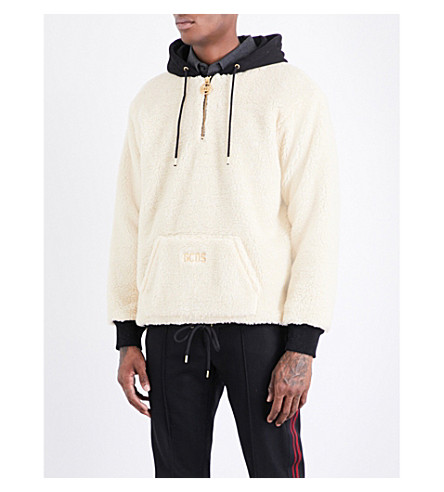 GCDS Zip-up faux-shearling hoody (Beige