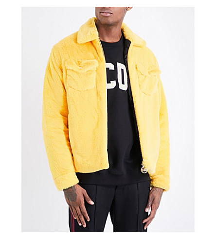 GCDS Collared faux-fur coach jacket (Yellow