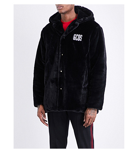 GCDS Brand-embroidered faux-fur coat (Black