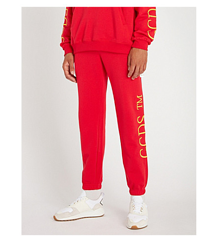 GCDS Relaxed-fit cotton-jersey jogging bottoms (Red