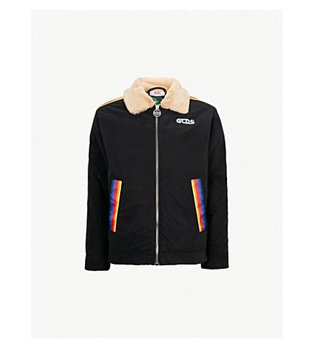 GCDS Rainbow-trim shell bomber jacket (Black