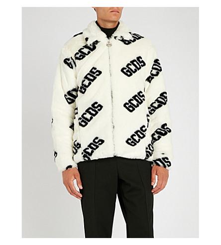 GCDS Logo-print faux-fur jacket (White