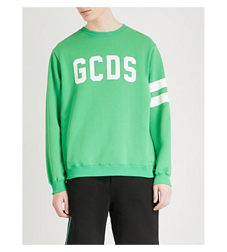 GCDS Logo-print cotton-jersey sweatshirt (Green