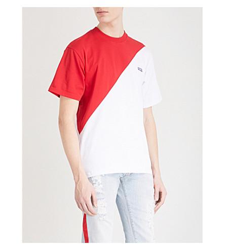 GCDS Asymmetric cotton-jersey T-shirt (Red