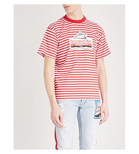 GCDS Striped cotton-jersey T-shirt (Red
