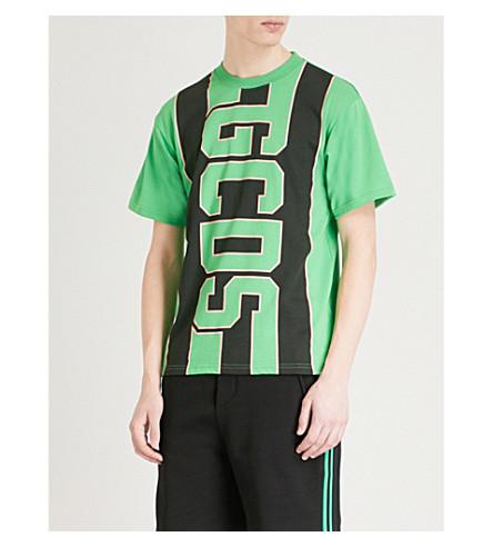 GCDS Logo-print cotton-jersey T-shirt (Green
