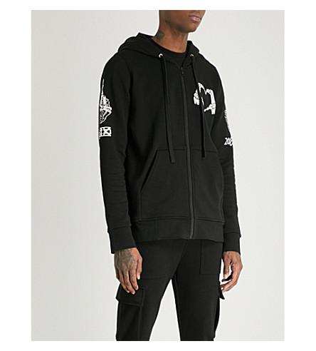 KTZ Hand-print cotton-jersey hoody (Black