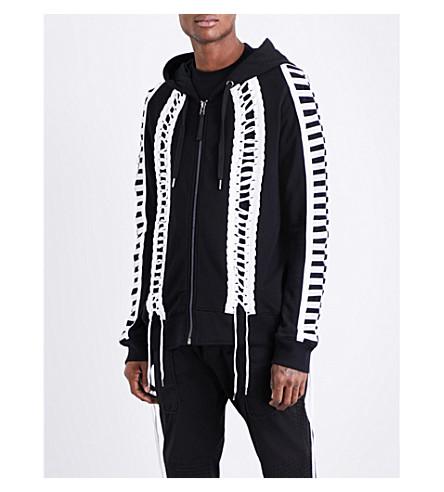 KTZ Lace-up cotton-jersey hoody (Black+white+lace