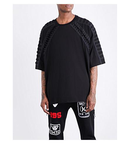 KTZ Lace-up cotton-jersey T-shirt (Black+black+lace