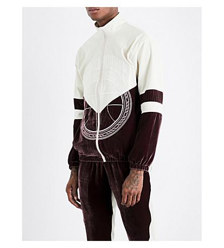 ASTRID ANDERSEN Embroidered-logo shell and velvet track jacket (Plum+cream