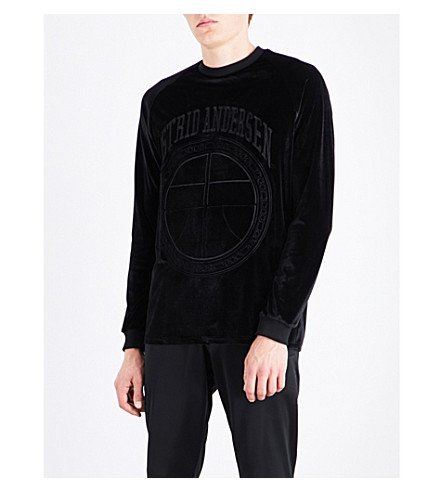 ASTRID ANDERSEN Logo-embroidered velour sweatshirt (Black