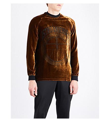 ASTRID ANDERSEN Logo-embroidered velour sweatshirt (Gold