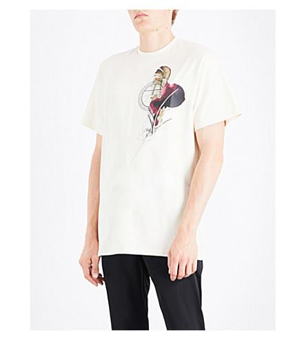 ASTRID ANDERSEN Feather-print cotton-jersey T-shirt (Cream