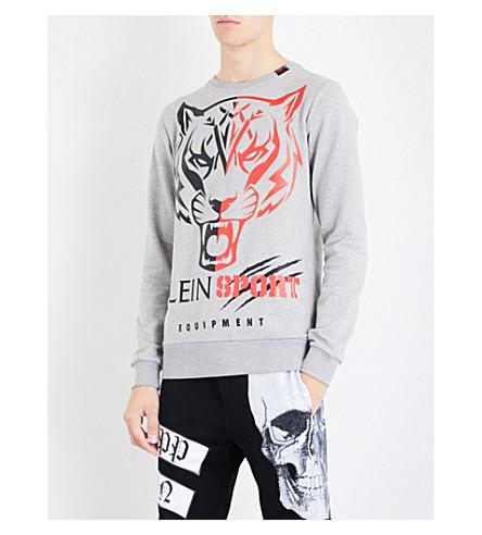 PLEIN SPORT Tiger logo-print cotton sweatshirt (Grey
