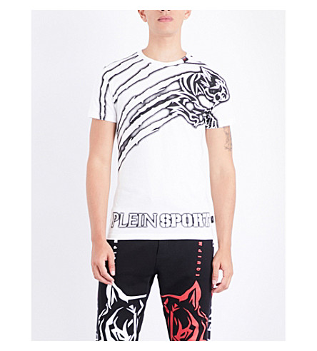 PLEIN SPORT Tiger-print cotton-jersey T-shirt (White