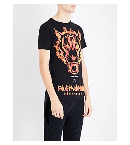 PLEIN SPORT Fire Tiger cotton T-shirt (Black