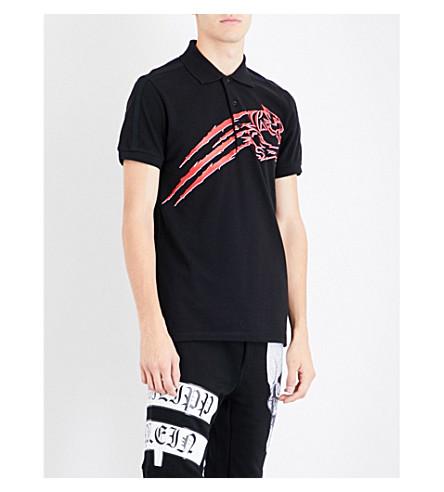 PLEIN SPORT Tiger logo-print cotton-piqué polo shirt (Black