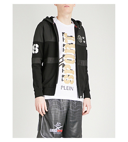 PLEIN SPORT Logo-print shell and jersey hoody (Black