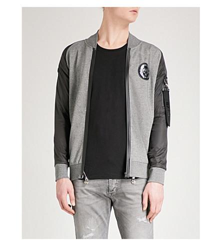 PLEIN SPORT Branded-patch bomber jacket (Grey