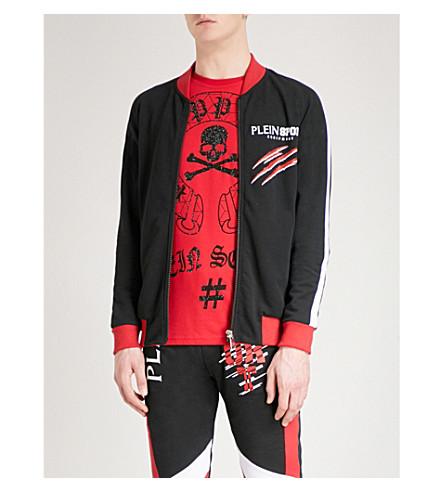 PLEIN SPORT Brand-print cotton-jersey bomber jacket (Blk