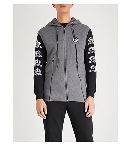 PLEIN SPORT Tiger-printed jersey hoody (Grey