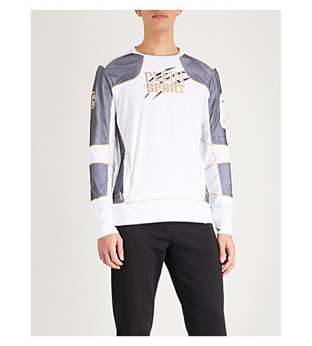 PLEIN SPORT Mesh-trimmed stretch-jersey sports top (White+gold