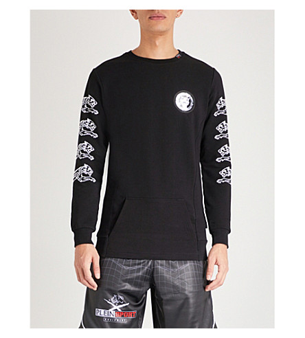 PLEIN SPORT Tiger-printed cotton-jersey sweatshirt (Black