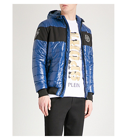 PLEIN SPORT Hooded shell jacket (Navy