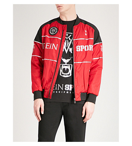 PLEIN SPORT Logo-print shell jacket (Red