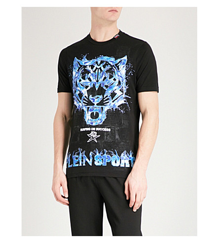PLEIN SPORT Tiger ice-print cotton-jersey T-shirt (Black