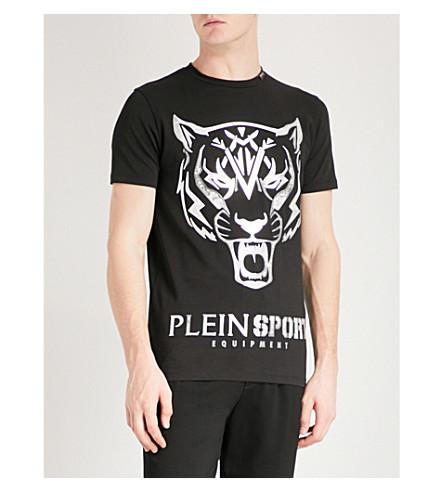PLEIN SPORT 虎纹弹力棉 t恤衫 (黑 + 银