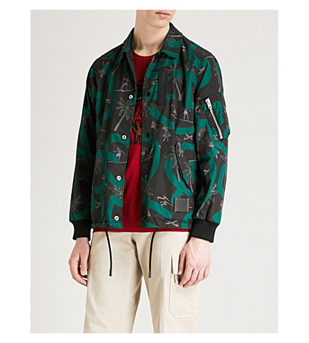 COACH 1941 Coach X Keith Haring printed shell coach jacket (Black+green