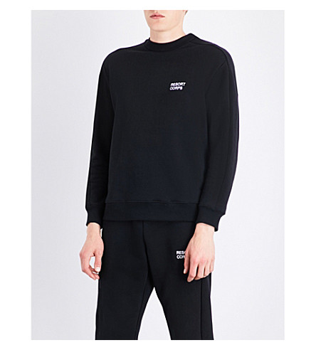 RESORT CORPS Logo-embroidered cotton-blend sweatshirt (Black