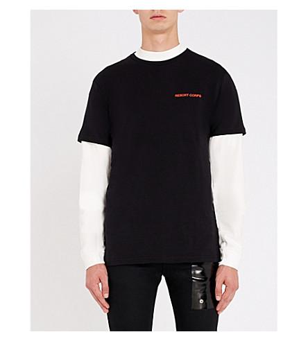 RESORT CORPS Stript cotton-jersey T-shirt (Black