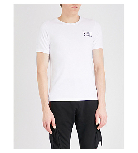 RESORT CORPS Stript cotton-jersey T-shirt (White